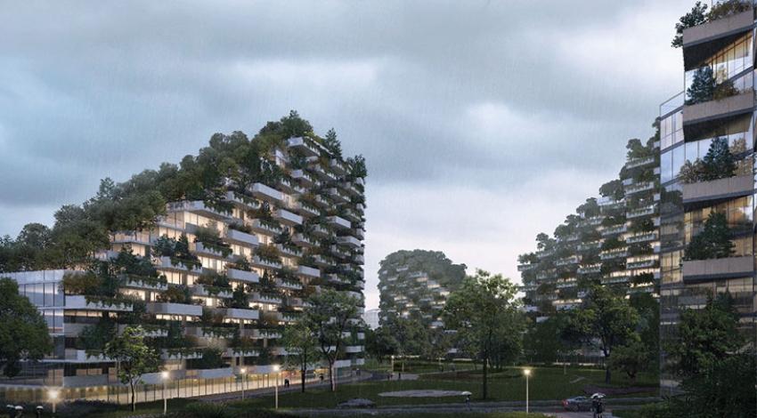 Construyen una ciudad ecológica en China completamente cubierta de árboles para combatir la contaminación